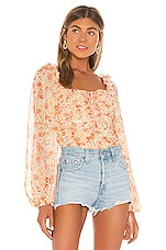 Free People Mabel Printed Blouse in White