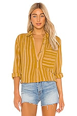 Free People Summer Breeze Stripe Button Down in Yellow