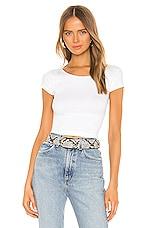 Free People Cap Sleeve SMLS Crop Top in White