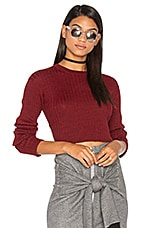 Frankie Rib Cropped Sweater in Red