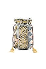 Duffie Drawstring Bag in Peach & Gold