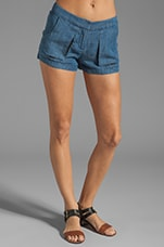 Offset Slit Pocket Shorts in Denim Offset