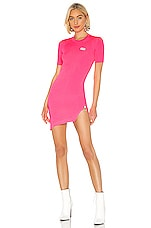 GCDS Fluorescent Asymmetrical Zip Dress in Pink