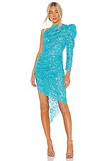 GIUSEPPE DI MORABITO Lace One Shoulder Midi Dress in Light Blue
