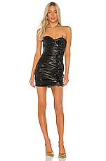 GIUSEPPE DI MORABITO Leather Mini Dress in Black