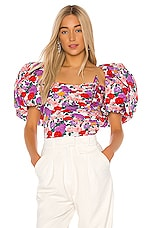 GIUSEPPE DI MORABITO Floral Puff Sleeve Top in White