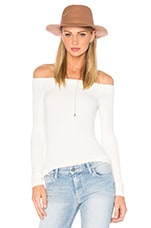 Off The Shoulder Long Sleeve Top in Vanilla Ice