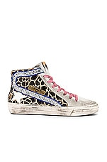 Golden Goose Slide Sneaker in Animalier, Silver Glitter & White Star