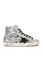 Golden Goose Francy Sneaker in Zebra Glitter & Black Star