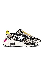 Golden Goose Running Sole Sneaker in Natural Snake Print & White Star