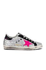 Golden Goose Superstar Sneaker in Rainbow Glitter & Fuxia
