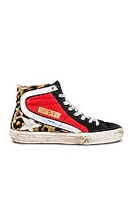 Golden Goose Slide Calf Hair Sneakers in Snow Leopard, Red & White Star