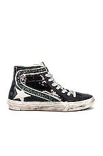 Golden Goose Slide Sneakers in Black, Paillettes & Ice Star
