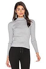 Turtleneck Top in Grey Silver Lurex