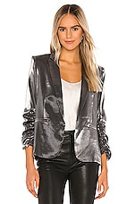 Generation Love Fabien Satin Blazer in Gunmetal