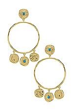 gorjana Cruz Coin Drop Hoops in Turquoise & Gold