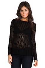 Lace Stitch Top in Black
