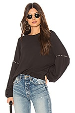 The Great The Bishop Sleeve Sweatershirt in Black & Studs