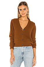 The Great The Puff Sleeve Cardigan in Copper