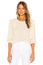 The Great The Eyelet Pleat Sleeve Sweatshirt in Washed White