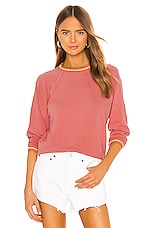 The Great The Striped Rib Shrunken Sweatshirt in Dark Victorian Rose