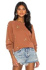 The Great Bubble Daisy Bouquet Embroidery Sweatshirt in Carob