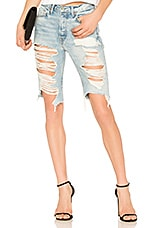 GRLFRND Beverly High Rise Long Biker Short in Beaten Gold