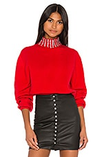 GRLFRND Katherine Embellished Sweater in Cherry Red