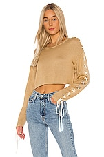 GRLFRND Ronnie Cropped Sweater in Nude