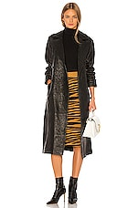 GRLFRND Lori Leather Trench Coat in Black