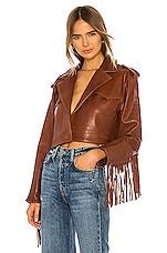 GRLFRND Sadie Leather Fringe Jacket in Brown