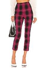 GRLFRND Zane High Waist Pant in Black & Pink Plaid