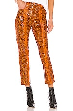 GRLFRND Shiloh Leather Pant in Orange Snake