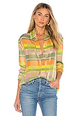 GRLFRND Dion Button Down Blouse in Green Plaid