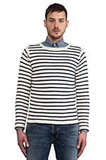 Breton Split Pullover in White Stripe