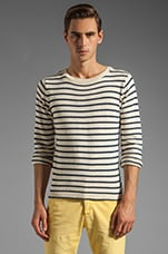 Breton Split Crue Sweater in White
