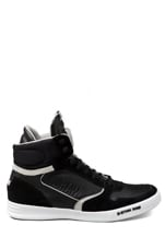 Yard Pyro Hi Top Sneaker in Black Leather/Suede