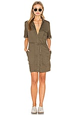 Elisia Linen Shirt Dress en Olive