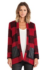 Greylin Mason Wool Plaid Jacket in Crimson