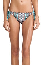 Printed Ruffled Bikini Bottom in Mandarin