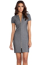 Halston Heritage Ribbed Sleeve Fitted Dress in Dark Heather Grey