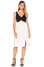 V Neck Colorblock Sleeveless Dress en Parchemin & Noir