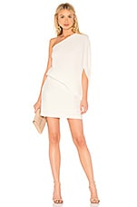Halston Heritage Asymmetrical Sleeve Dress in Chalk