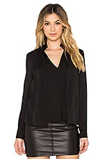 V Neck Double Collar Blouse en Noir