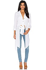 Button Up Front Tie Top en Blanc lin