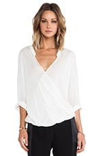 3/4 Sleeve Drape Front Blouse in Linen White