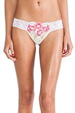 Embroidered Mesh Low Rise Thong in Neon & White