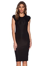 Lycra Rib Cap Sleeve Dress in Black