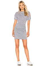 MONROW Slash Sleeve Shirred Dress in Granite