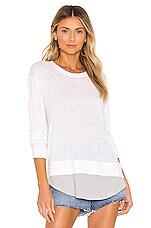 MONROW Rib Baseball Hem Sweatshirt in White